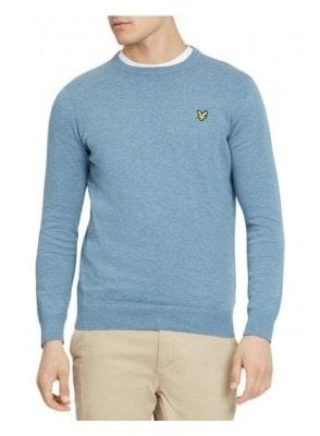 Cotton Crew Neck Jumper Mist Blue Marl