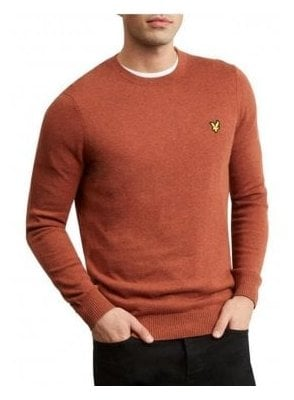 Cotton Merino Crew Neck Jumper Brown Spice Marl