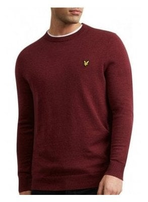 Cotton Merino Crew Neck Jumper Claret Marl