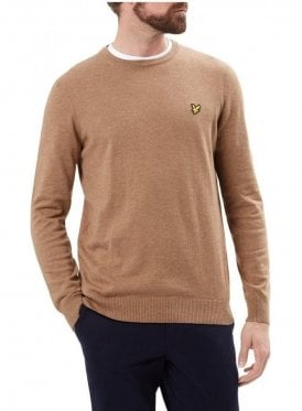 Crew Neck Cotton Merino Jumper Brown