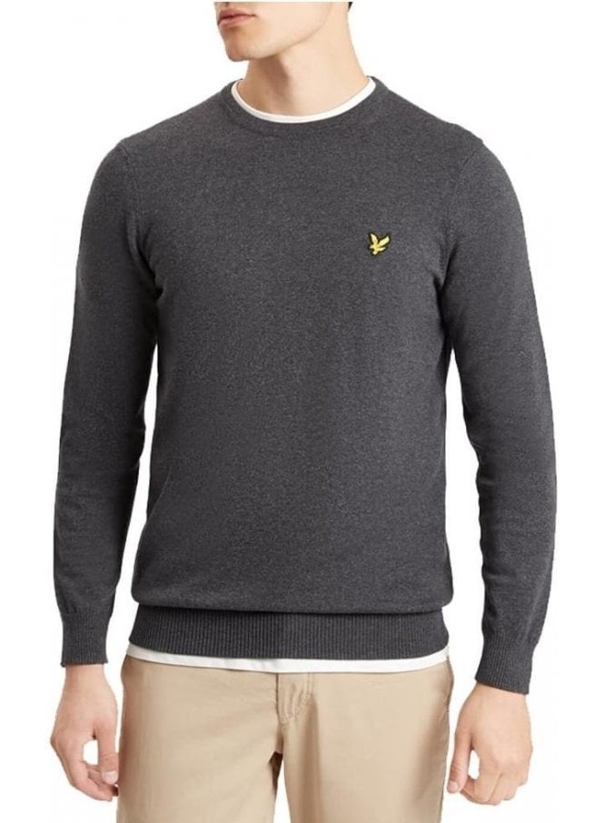 LYLE & SCOTT Crew Neck Cotton Merino Jumper Charcoal Marl