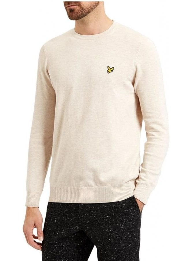 LYLE & SCOTT Crew Neck Cotton Merino Jumper Off White Marl