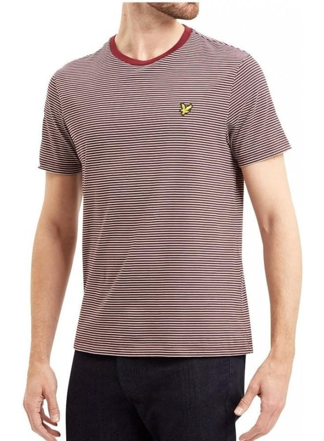 LYLE & SCOTT Crew Neck Feeder Stripe Tshirt Claret Jug