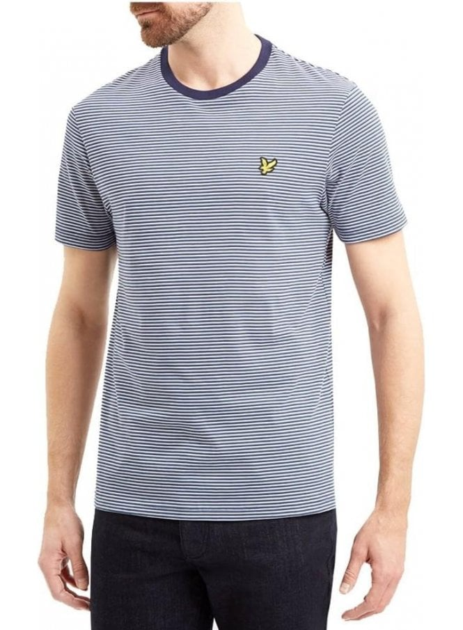LYLE & SCOTT Crew Neck Feeder Stripe Tshirt Navy