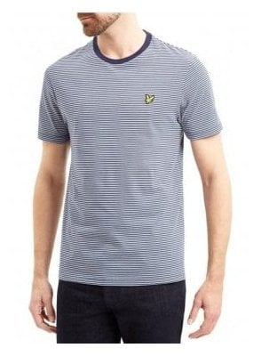 Crew Neck Feeder Stripe Tshirt Navy