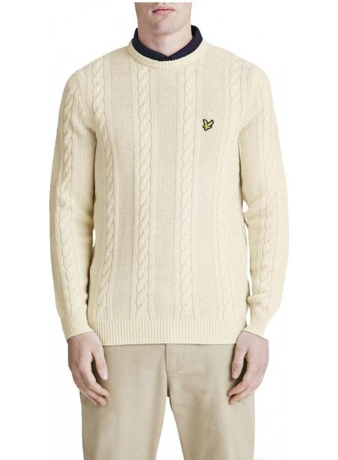 LYLE & SCOTT Crew Neck Lambswool Cable Knit Chunky Ivory