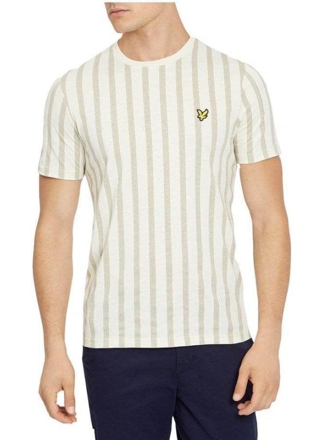 LYLE & SCOTT Deckchair Stripe Crew Neck Tshirt Seashell White