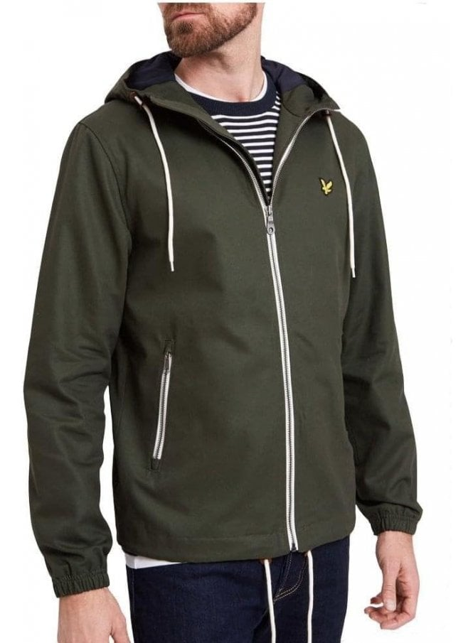 LYLE & SCOTT Hooded Twill Jacket Dark Sage