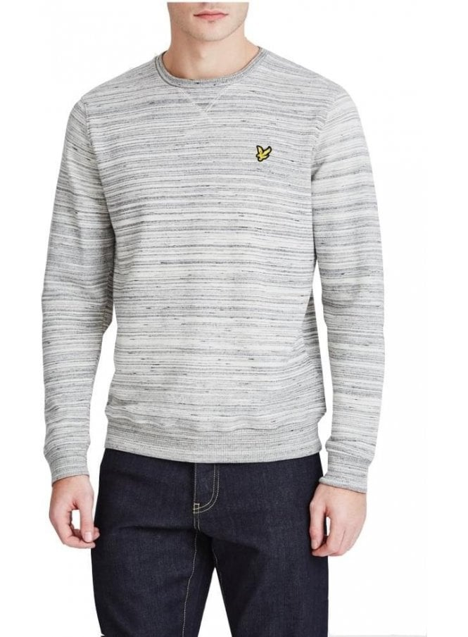 LYLE & SCOTT Long Sleeve Space Dye Crew Neck Sweat Mid Grey Marl