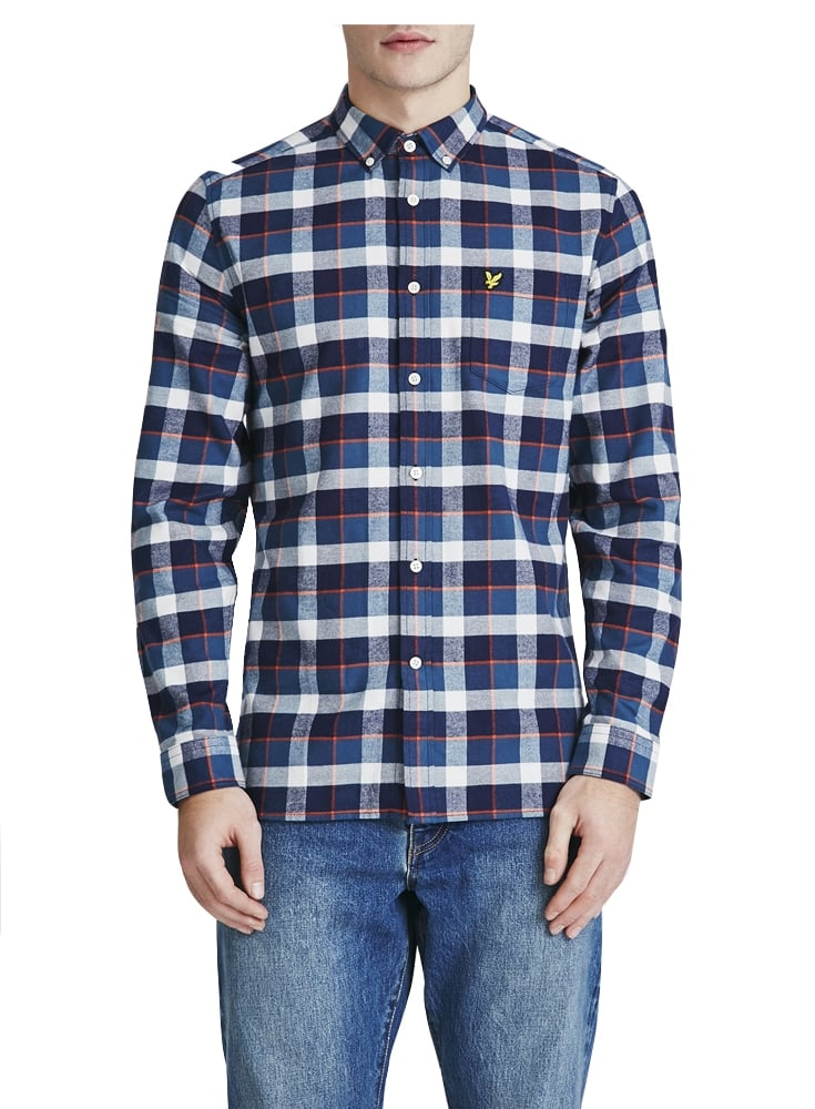 bec682ea669f Lyle   Scott Long Sleeved Check Flannel Shirt Off White