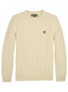 Long Sleeved Crew Neck Allover Cable Ivory