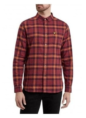 Long Sleeved Flannel Check Shirt Claret Jug