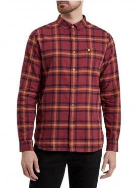 Long Sleeved Flannel Check Shirt Claret Jug