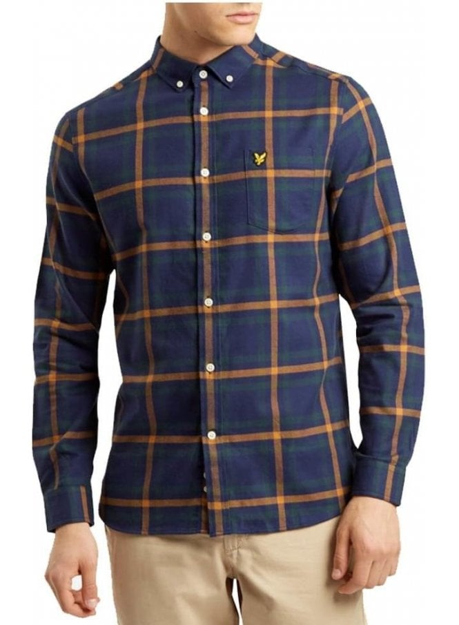 LYLE & SCOTT Long Sleeved Flannel Check Shirt Navy