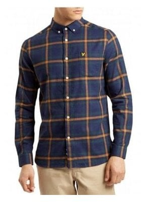 Long Sleeved Flannel Check Shirt Navy