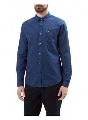 Long Sleeved Marl Flannel Shirt Navy Marl