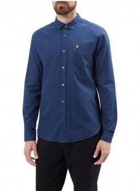 Long Sleeved Marl Flannel Shirt Navy Marl
