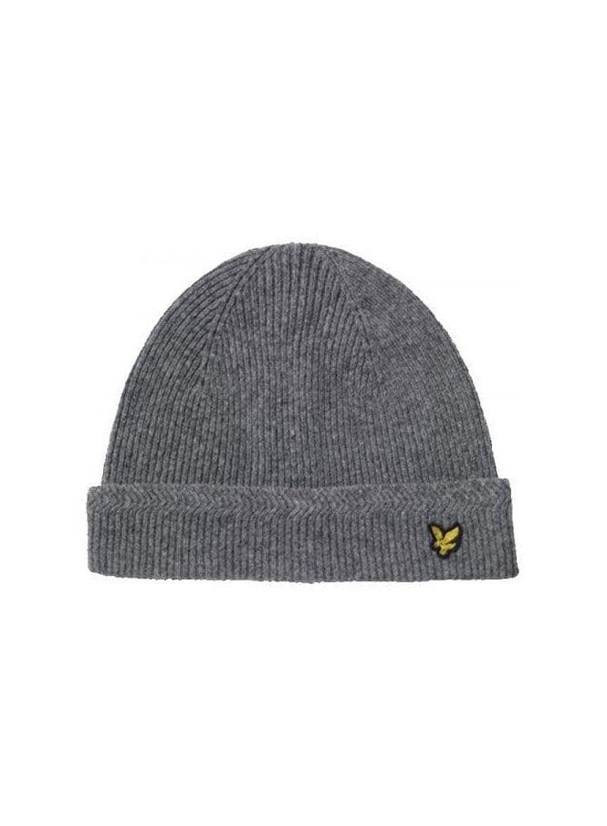 LYLE & SCOTT Racked Rib Beanie Knitted Hat Grey Marl