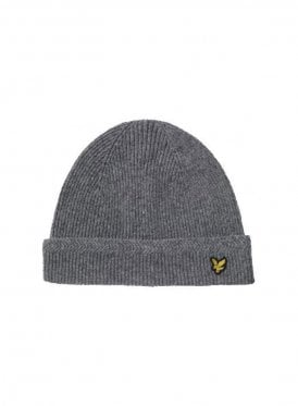 Lyle & Scott Racked Rib Beanie Knitted Hat Grey Marl