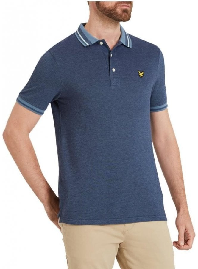 LYLE & SCOTT Oxford Tipped S/s Polo Tshirt Mist Blue