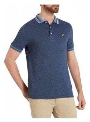 Oxford Tipped S/s Polo Tshirt Mist Blue