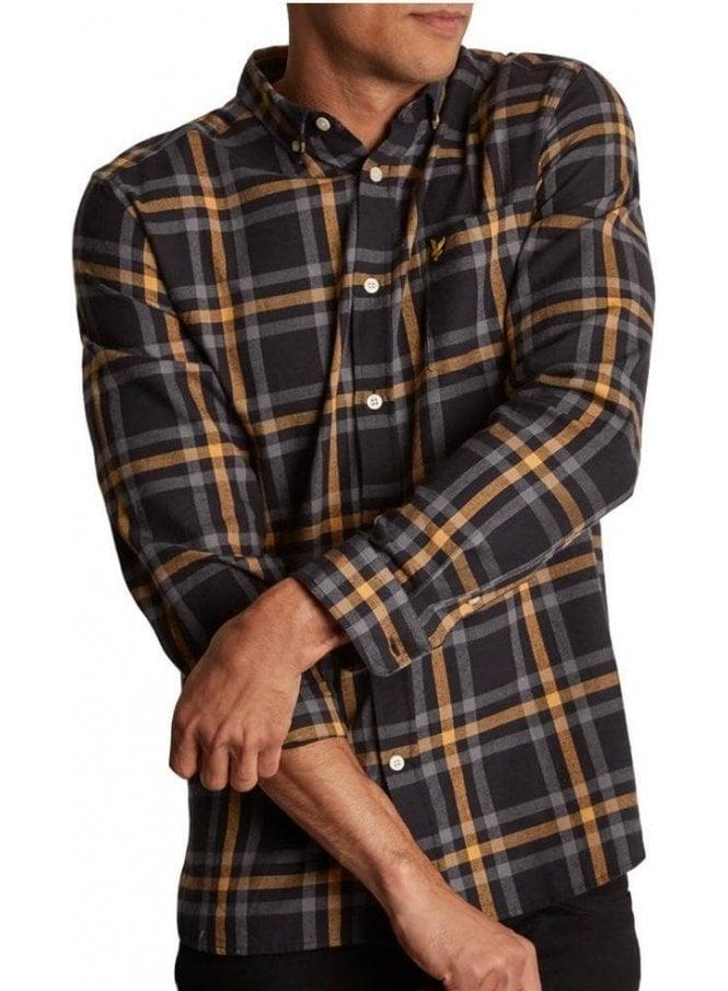 LYLE & SCOTT Poplin Check Shirt True Black/Urban Grey