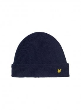 Racked Rib Beanie Knitted Hat Navy