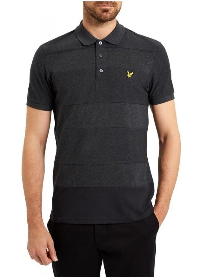 LYLE & SCOTT Reverse Stripe Polo Shirt Charcoal