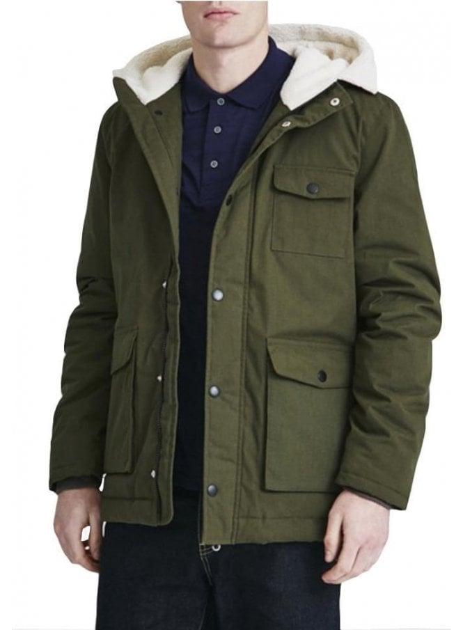 LYLE & SCOTT Shearling Lined Hooded Parka Coat Dark Sage