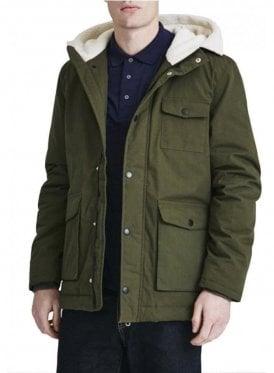 Shearling Lined Hooded Parka Coat Dark Sage