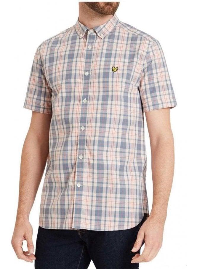 LYLE & SCOTT Short Sleeved Check Shirt Dusty Pink