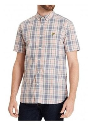 Short Sleeved Check Shirt Dusty Pink