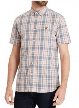 Short Sleeved Check Shirt Dusty Pink