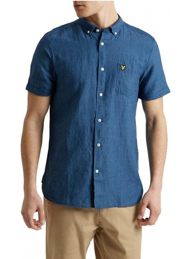 LYLE & SCOTT Short Sleeved Shirt Light Indigo