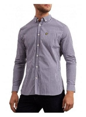 Slim Fit Gingham Shirt - Navy
