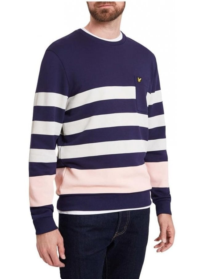 LYLE & SCOTT Stripe Long Sleeved Sweatshirt Navy