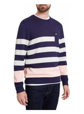 Stripe Long Sleeved Sweatshirt Navy