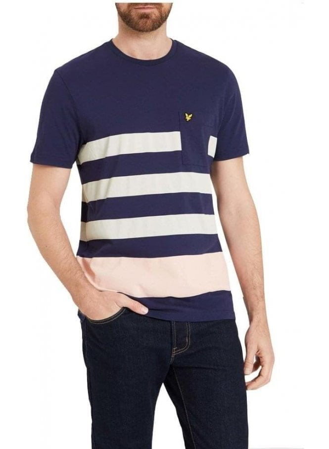 LYLE & SCOTT Wide Stripe Detail Crew Neck Tshirt Navy