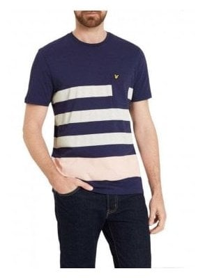 Wide Stripe Detail Crew Neck Tshirt Navy