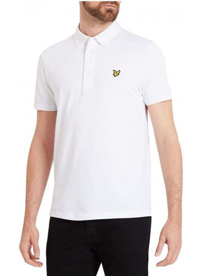 LYLE & SCOTT Woven Collar Polo Tshirt White