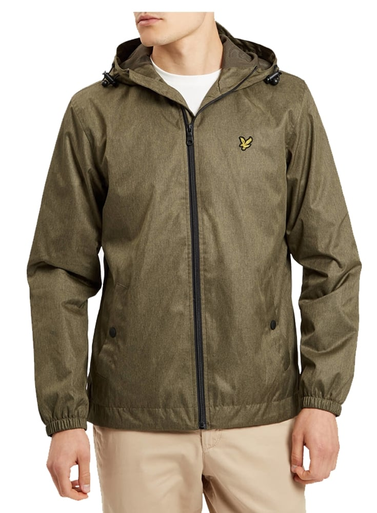 Zip Through Hooded Jacket Olive Marl
