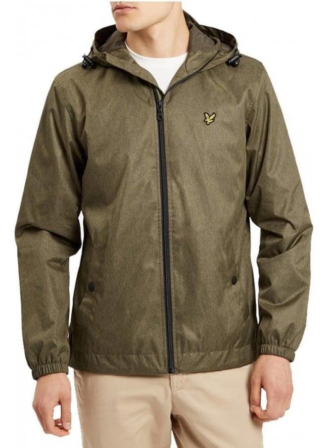 LYLE & SCOTT Zip Through Hooded Jacket Olive Marl