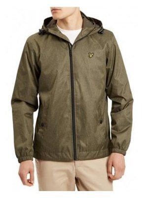 Zip Through Hooded Jacket Olive Marl