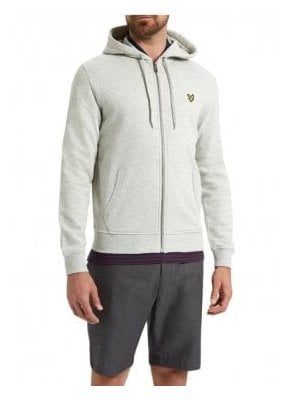 Zip Through Hoodie Top Light Grey