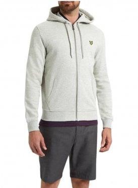 Zip Through Hoodie Top Light Grey