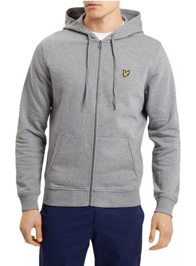 LYLE & SCOTT Zip Through Hoodie Top Mid Grey Marl