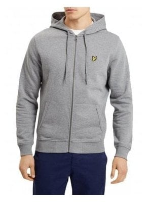 Zip Through Hoodie Top Mid Grey Marl