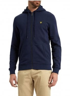 Zip Through Hoodie Top Navy