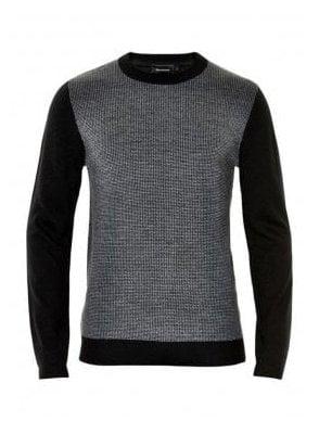 Chitt Pattern Wool Crew Neck Square Desi Black