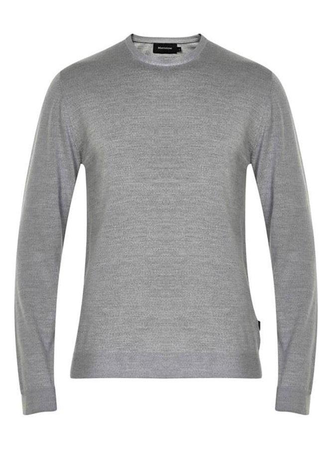 MATINIQUE Margrate Fine Knit Merino Wool Jumper Grey Melange